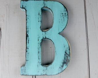rustic  wood letter b 8 inch distressed shabby chic nursery or wedding decor chalk paint choice of colors