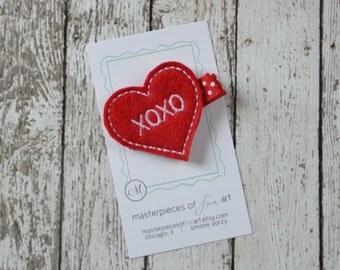 Valentines Day XOXO Heart Felt Hair Clip - red and white polka dots - Valentine Clippie - Non Slip Grip Clip