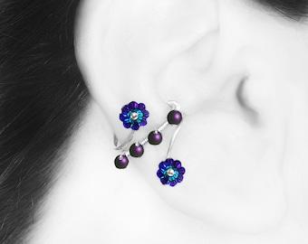 Heliotrope Swarovski Crystal Ear Cuff, No PIercing Needed, Purple Swarovski Pearls, Cartilage Jewelry, Statement Earring, Capella III v4