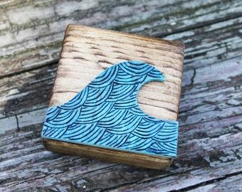 Mini Wood Art Block- Ocean Wave - Woodburned art - Shelf Display - Wood Pieced Art