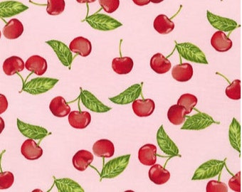 Clearance FABRIC Old Fashioned CHERRIES on Pink   We combine shipping