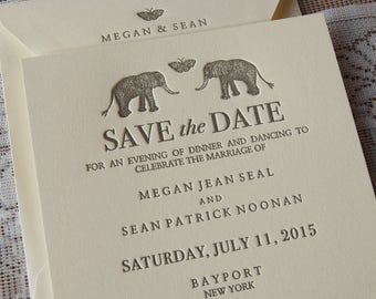 Letterpress Save the Date Sample, Wedding Save the Date, Whimsical Save the Date, Elephants Save the Date, Custom Save the Date card