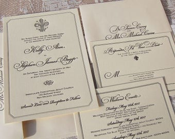 Letterpress Wedding Invitation DEPOSIT, Wedding Invitation, Classic Wedding  Invitation, Fleur De