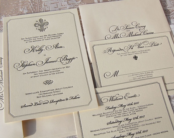 Letterpress Wedding Invitation DEPOSIT, Wedding Invitation, Classic Wedding Invitation, Fleur-de-Lis  Invitation, French Wedding Invitation