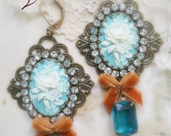 Turquoise shabby victorian cameo earrings