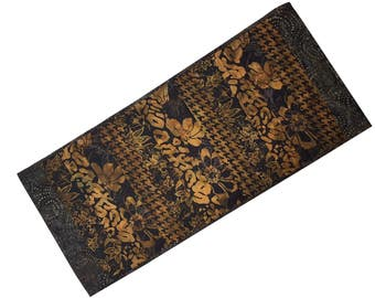 Quilted Table Runner in Brown and Black Batik