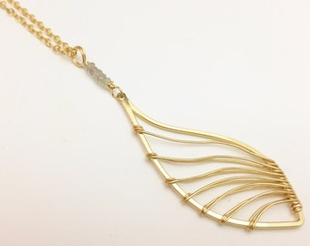 Gold Filled & Labradorite Feather Necklace N407GF - handcrafted wire jewelry by cristys jewelry
