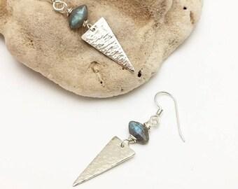Silver Spike & Labradorite Earrings (E443SS) - handcraftedwire jewelry by cristysjewelry on etsy