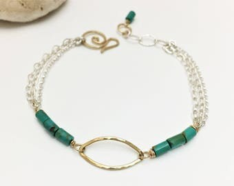 Mixed Metal & Turquoise Chain Bracelet- Bohemian, Unique, Silver, Gold Filled- B211SG - handcrafted by cristysjewelry on etsy
