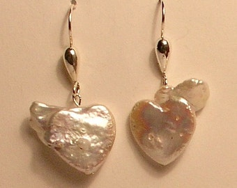 Heart-shaped freshwater pearl and sterling silver earrings