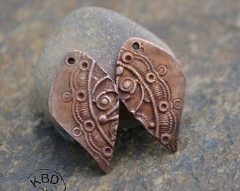 Copper Split Steampunk Drop Component (1 pair)