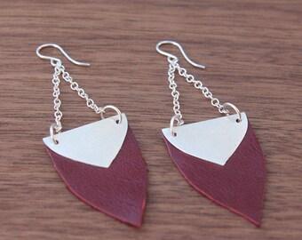 Leather Shield Earrings