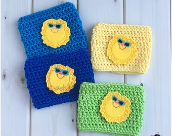 Coffee Cup Cozy. Sun with Sunglasses Cozy. Summer Sun Cozy. Cool Summer Picnic Party Favor. Gift for kids. Gift for Her. Gift under 10.