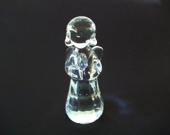 Praying Angel, Solid Crystal Glass, Hand-Blown Christmas Decoration, 1980s
