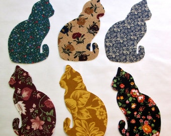 Set of 6 Lg Kitty Cat Iron-on Cotton Fabric Appliques for Quilts & Apparel Etc
