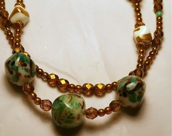 Double Strand Necklace Copper Luster glass and vintage beads, OOAK handmade