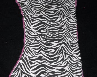 50% OFF Black and White Zebra  with Hot pink Chenille  Burp Cloth