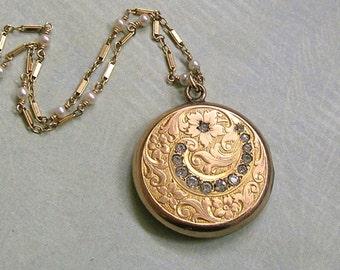 Antique Gold Filled Art Nouveau Locket Necklace With White Pearls, Nouveau Locket Necklace, Gift for Her (L240)