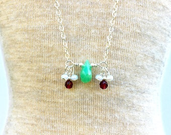 Chrysoprase with Garnets Sterling Silver Neckalce