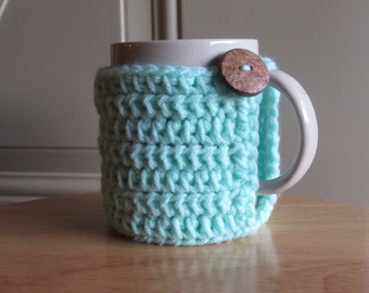 Crochet mug cozy cup cozy in cool blue mint