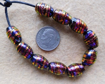 10 Bright Copper Swirl Oval  Dichroic Collage Lampwork Beads Handmade by Dee Howl Beads