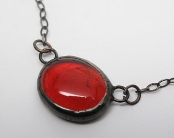 Red Droplet - Stained Glass Nugget Necklace with Sterling Silver Chain