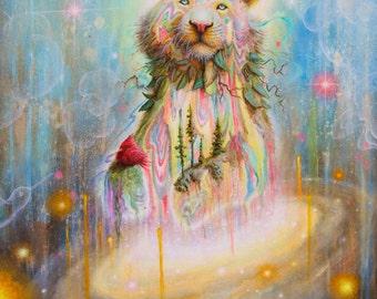 Tiger Art Print - Pop Surrealism - Fine Art - Space - SciFi - Bird