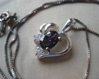 Heart Fire Topaz Sterling Necklace Purple Green Blue Clear Silver Vintage Pendant 925