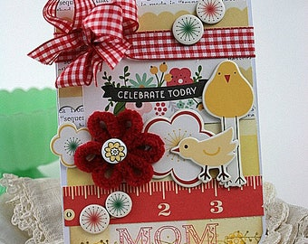 happy mothers day card-MAMA and BABY CHICK-celebrate today mom greeting