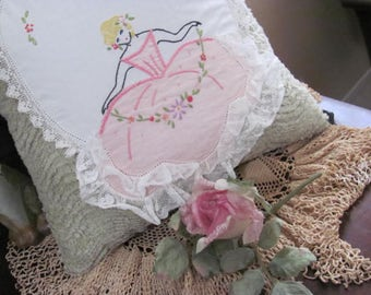 Vintage Floral Embroidered Lady Pillow, I Used  Chenile with the Vintage Embroidery