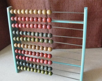 Vintage wooden abacus small size robins egg blue paint 100 beads Counting toy
