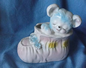 Vintage baby planter Inarco Japan bootie and bear