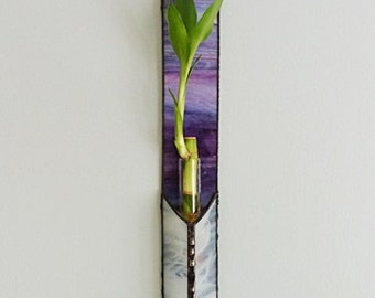 Stained Glass Panel, Lucky Bamboo Plant, Purple Blended Glass, Window Suncatcher