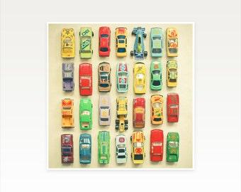 Car Nursery, Racing Car Photograph, Retro Wall Art, Boys Bedroom Art - Car Park