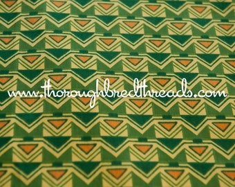 Fun Mod Geometric - Vintage Fabric Upholstery 70s Green Orange Shapes Graphics