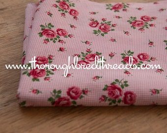Pink Roses - Vintage Fabric New Old Stock 50s 35 in wide