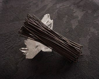 Free Shipping 10pc 2 Inch Headpins Hand Oxidized Solid Brass 21g Wire Dark Brown Black Patina Goth Victorian Steampunk Jewelry Finding 2Q