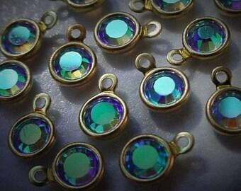 Free Shipping 4 Tiny 4mm Swarovski Crystal Light Sapphire AB Channel Vintage Mini Drop Charms Bead 17ss Round 1 Loop Setting Bare Raw 12J