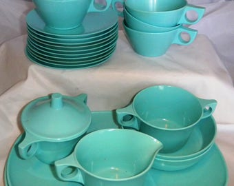 MELMAC / MELAMINE - Assorted Vintage, Retro, Mid-Century  -  Teal / Aqua / Turquoise -  COLLECTIBLE!