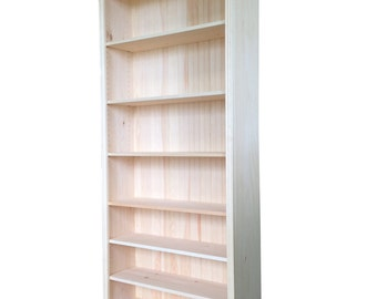 "Solid Pine Bookcase | 24""-36""W x 82""H x 12""D 
