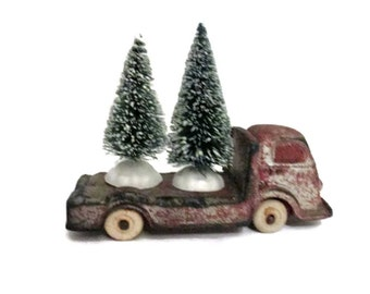 Auburn Rubber - International flatbed truck - Red and silver - Circa - Primitive - Rustic