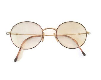 Giorgio Armani eyeglasses - Made in Italy - Model 252 1022 - Round-oval wire frames - Faux tortiseshell - Case included - 1990s