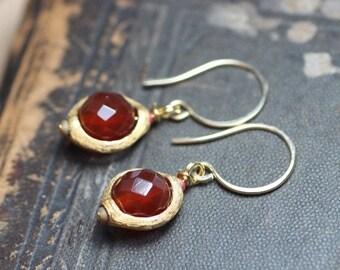 Red Carnelian Earrings Rustic Jewelry Red Earrings Gold Earrings Amethyst Purple Gemstone Earrings