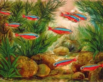 Cardinal Tetras Tropical Fish and Aquarium Plants Original Watercolor Colored Pencil  Art by AllKindsofArt artist Glenda Mullins