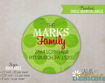 Lime Green Polka Dot Christmas Return Address Labels, Custom Merry and Bright Envelope Sticker #C103