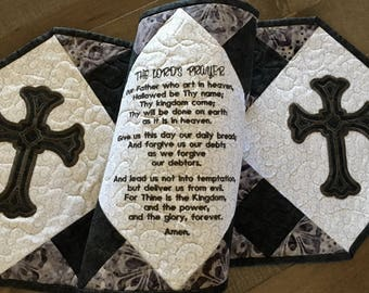Quilted Table Runner . . .Embroidered  LORD'S PRAYER . . . Appliqué  CROSSES . . .Stunning Colors