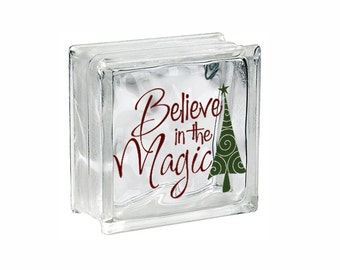"Christmas Glass Block Decal Sticker Christmas Light ""Believe in the Magic"" Tree DIY Glass Block Light Decal Sticker Holiday Sign Vinyl"