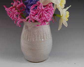 White Pottery Vase- Handmade ,Carved ,flowers,home deco