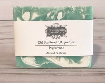 Peppermint Old Fashioned Wagon Bar our Handmade Cold Process Soap