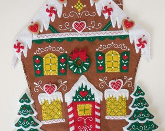 Finished Advent Calendar/Wall Hanging - Nordic Gingerbread House